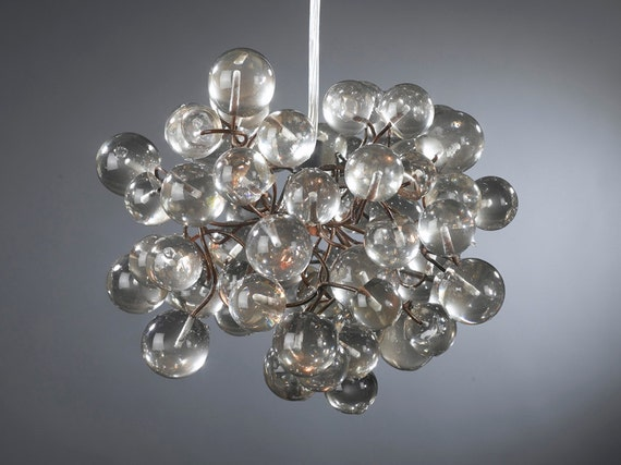 Hanging lamp with Transparent clear bubbles for kids room, hall, bathroom.