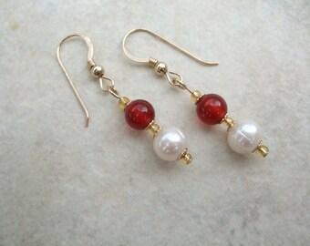 Beautiful 14ct Gold Filled Freshwater Pearl & Red Agate Drop Earrings, Jewellery, Jewelry, Gemstone, UK Seller