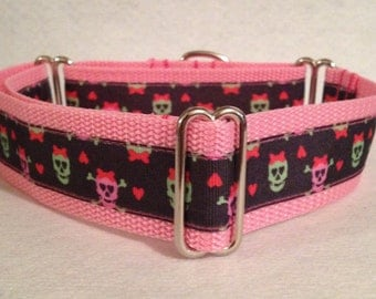 """1.5"""" Martingale or Buckle- Zombie Skulls"""