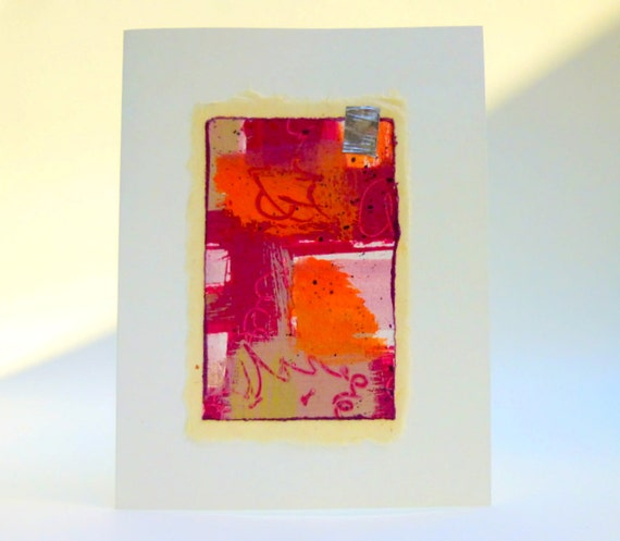 Japanese Paper Greeting Card /Blank/ OOAK Hand Painted in Crimson and Orange Tones with a Silver Detail