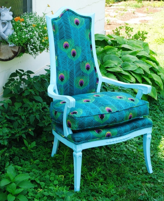 Peacock & Aqua Upcycled Antique Arm Chair