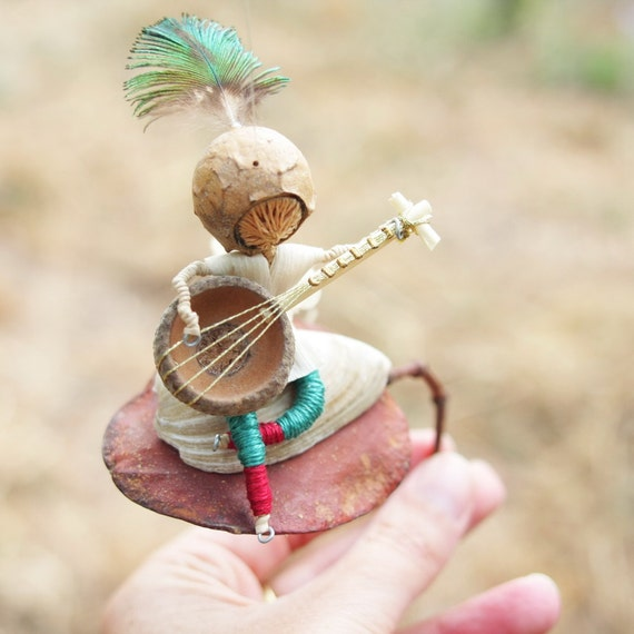 Recycled Art Mobile, Rustic Decor, Guitar player with Turquoise and red pants,