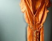 Tangerine Orange Casual Autumn Cotton Dress size small