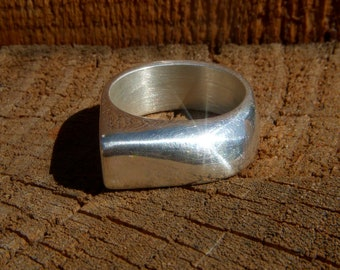Silver lost wax cast one of a kind ring with a squared and pointey design size 10 1/2