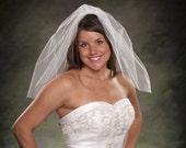 Short Wedding Veil Light Ivory Tulle Shoulder Length Bridal Veil 22 inch Short Veils Ivory Veils Diamond White Wedding Veils