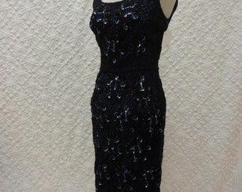 50s Dress // Vintage 1950s Sexy Black Peekaboo Crochet Over Blue with Sequin Flowers S