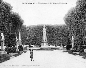 WWI Photo Postcard, France, Young Girl at St. Maixent - Monument de la Defense Nationale