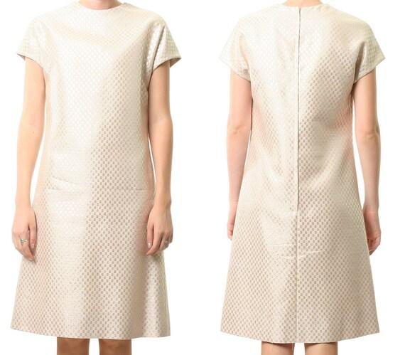 metallic 60s dress // short sleeve pink gold metallic mod mini party op art dress small medium