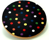"Cork trivet, black & colorful polka dot kitchen trivet, Japanese stencil, ""Konpeito"""