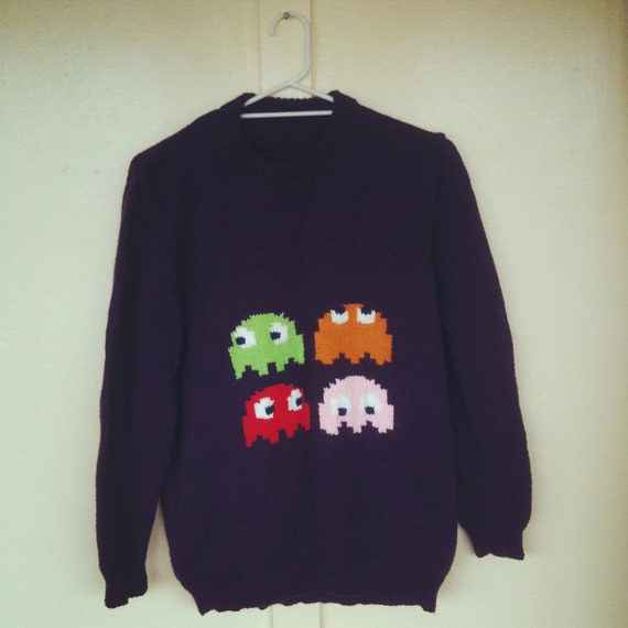 Pac Man Monsters Hand Knitted Sweater