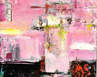 Soul In Exile  -  Pink Original Abstract Acryllic painting on canvas