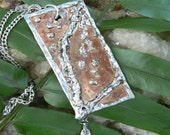 hammered copper leaf pendant necklace leaf charm rustic boho tribal nature and native american inspired style