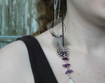 amethyst ear cuff wrap feather hoop native american inspired  in gypsy boho hippie tribal style