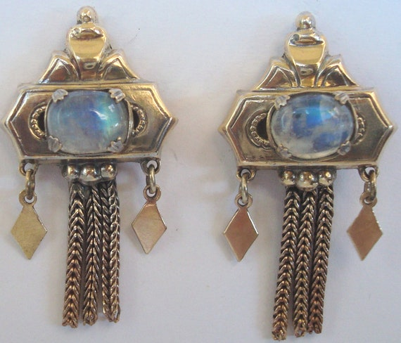 Antique Gold Earrings -  Victorian Gold Fill Moonstone Earrings