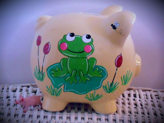 Personalized Hand Painted Piggy Bank With Frog Theme