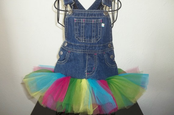 Sale- Tutu: Rainbow Jean (Denim) Overall Tutu Size 6 months