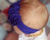 Royal Blue Double Flower Jersey Headband