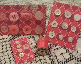Pink and White Vintage Button Set