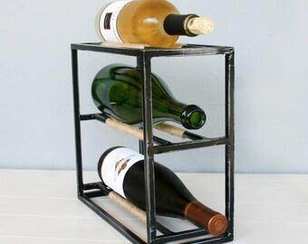 Small Wine Rack - Jute Wrapped Steel 3 Bottle Table Top Wine Rack - Dark Brushed Steel Finish