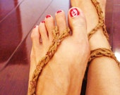 HOLIDAY SALE- Fun Copper barefoot hemp SANDALS- Crochet Sandals Barefoot Sandles Chakra Copper Healing Manifestation belly dancing