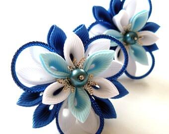 Kanzashi fabric flowers. Set of 2 ponytails . Blue and white.