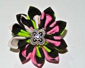 Pink green black and white checker pattern kanzashi hair flower clip