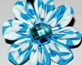 Blue and white daisy grosgrain ribbon kanzashi hair flower clip
