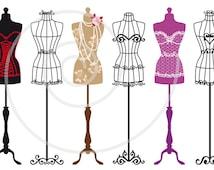 Set of vintage mannequin silhouettes, dress forms,tailor's dummy, fashion illustration, digital clip art for shops or home decor, vector