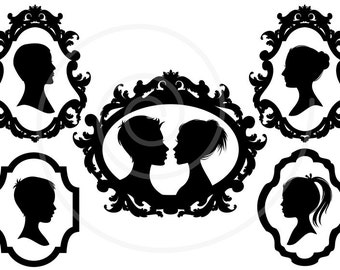 Family faces, portrait silhouettes in vintage picture frame, digital clip art, scrapbooking, commercial use, PNG, EPS, SVG, instant download