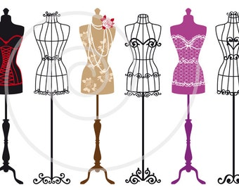 Vintage Mannequin Digital Clip Art Set Tailors Dummy Dress Forms Silhouettes Fashion Illustration For Shops Home Deco EPS Download
