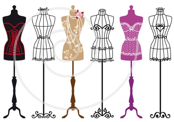 vintage mannequin digital clip art set tailors dummy