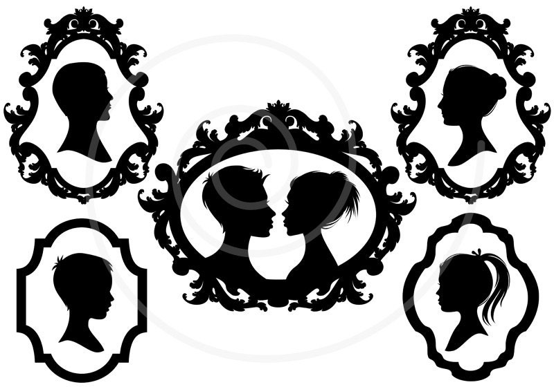 Family Faces Portrait Silhouettes In Vintage Picture Frame Digital Clip Art Scrapbooking Commercial Use PNG EPS SVG Instant Download