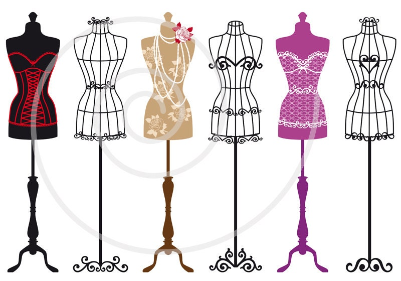 set of vintage mannequin silhouettes dress by illustree on. Black Bedroom Furniture Sets. Home Design Ideas
