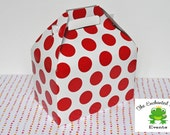 12 White with Red Dots Favor Box - Favor Box, Lunch Box, Picnic Box