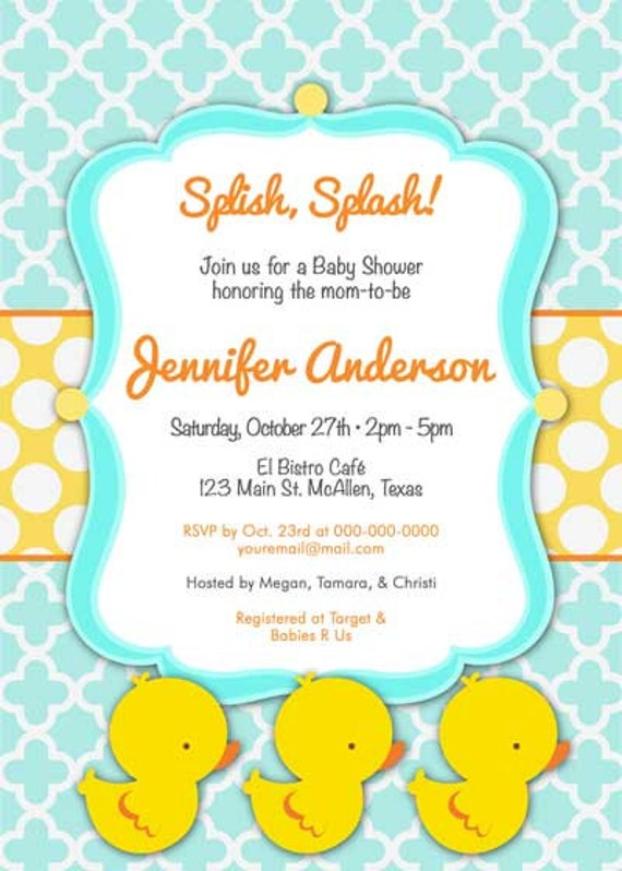 baby shower invitation rubber ducky cutie for boy diy printable
