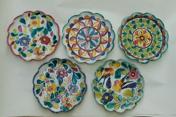 5 Vintage Italian Hand-Painted Majolica Plates Pottery