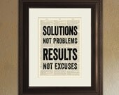 Solutions (Not Problems) Results (Not Excuses) - Inspirational Quote Dictionary Page Book Art Print - DPQU043