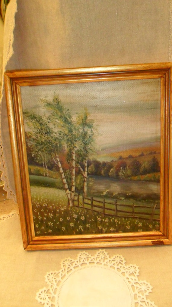 Oil Painting Of White Birch Trees Fence By