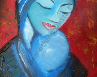 Mother and child original oil painting