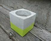 Concrete Cube Planter (Lime Green Enamel)