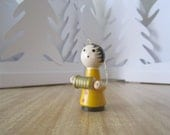 Wooden accordian boy christmas tree ornament - hand painted