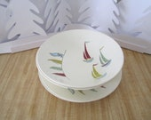 On SALE - J & G Meakin 'yachts and flags' plates and dessert bowls 1961