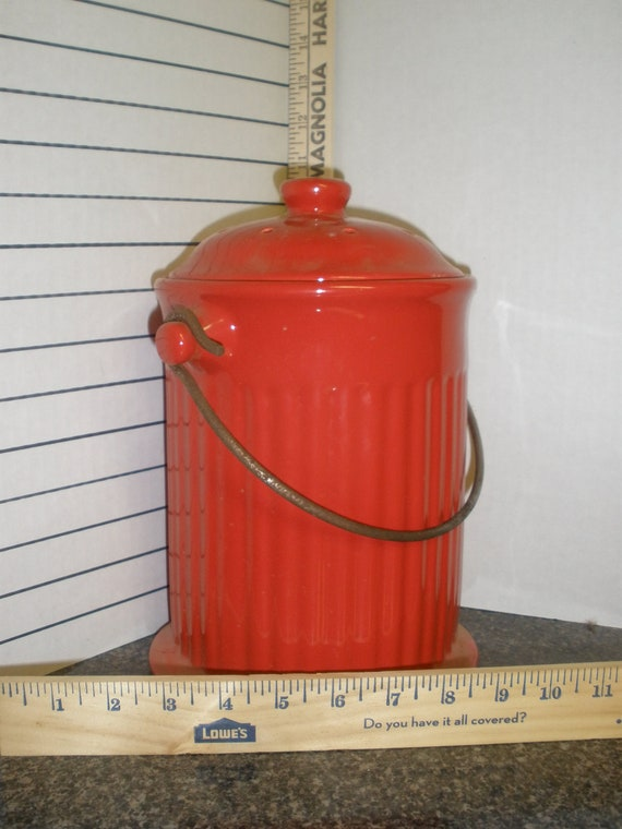 Vintage Ceramic Red Hydrant Cookie Jar Canister With Metal Handle
