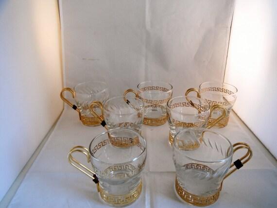 Vintage Retro Libbey Glass Mug With Gold Greek Pattern Holder
