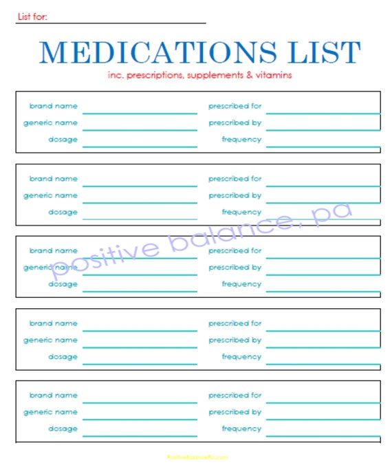 Free Printable Wallet List Of Medication Card Confederated