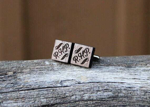 Personalized Wood Cufflinks - Groomsmen gifts, Weddings, Gifts for Men - Custom Cuff Links - Walnut