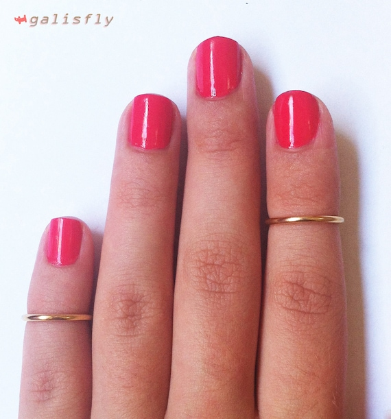 2 Above the Knuckle Gold Plated Rings - set of 2 stackable midi rings