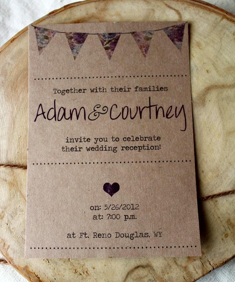 Rustic Brown Paper-Bag Wedding Invite Set Customizable