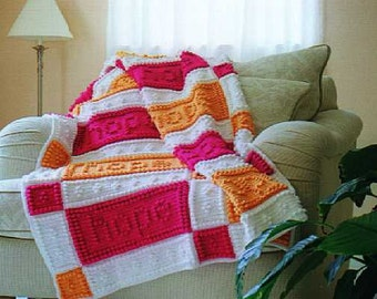 HOPE, FAITH and LOVE pattern for crocheted blanket