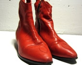 Red AJ Valenci Vintage Western Style Ankle Boots